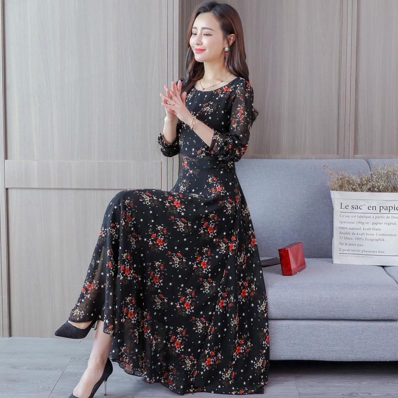 2020 Mẫu Mới Mùa Xuân Và Mùa Thu Phiên Bản Hàn Quốc Tiểu Thư Dài Tay Đầm Nữ Phiên Bản Hàn Quốc Áo Lót Dáng Dài Qua Đầu Gối Váy Ôm Body Tôn Dáng