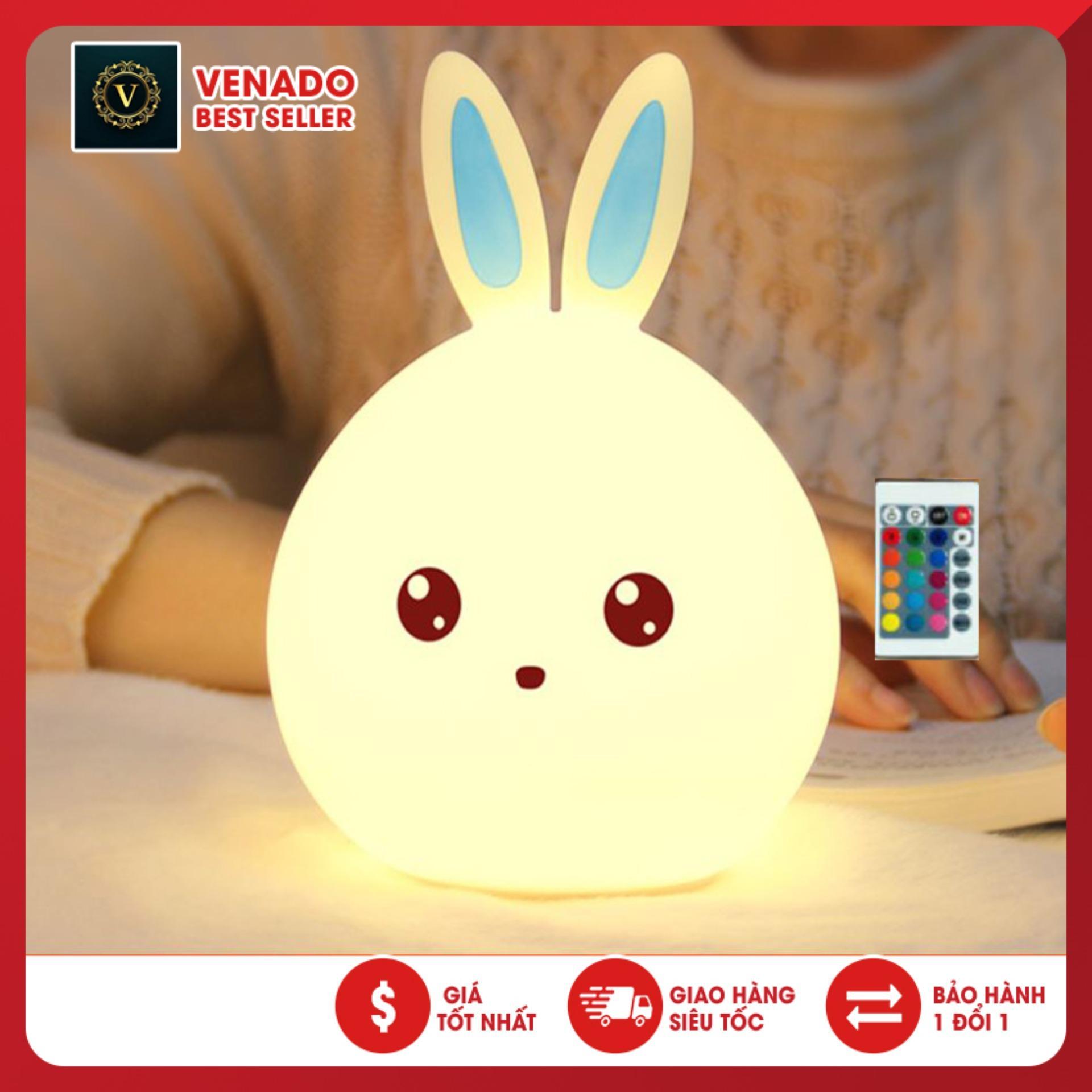 [Chỉ sale 1 ngày] Đèn Ngủ Led Đổi Màu Cảm Biến Ánh Sáng Hình Thỏ Bằng Silicon, Đèn ngủ silicon Thỏ cực đáng yêu có điều khiển từ xa