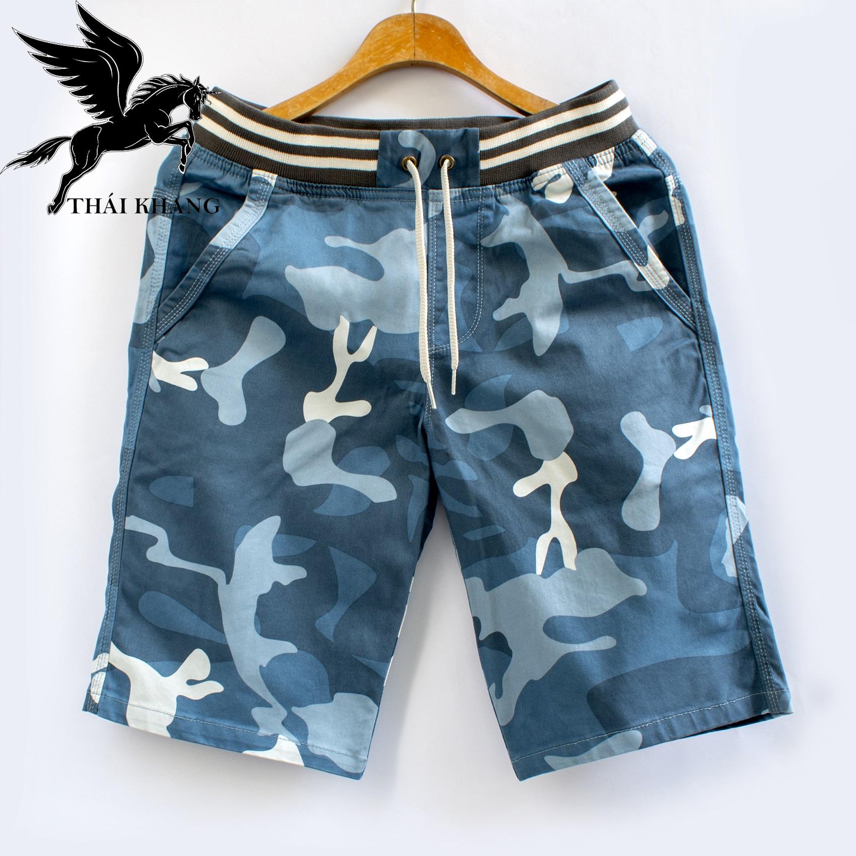 Quần short nam kaki cao cấp rằn ri lưng thun vải cotton co giãn loại quần short lính nam QSKLT20