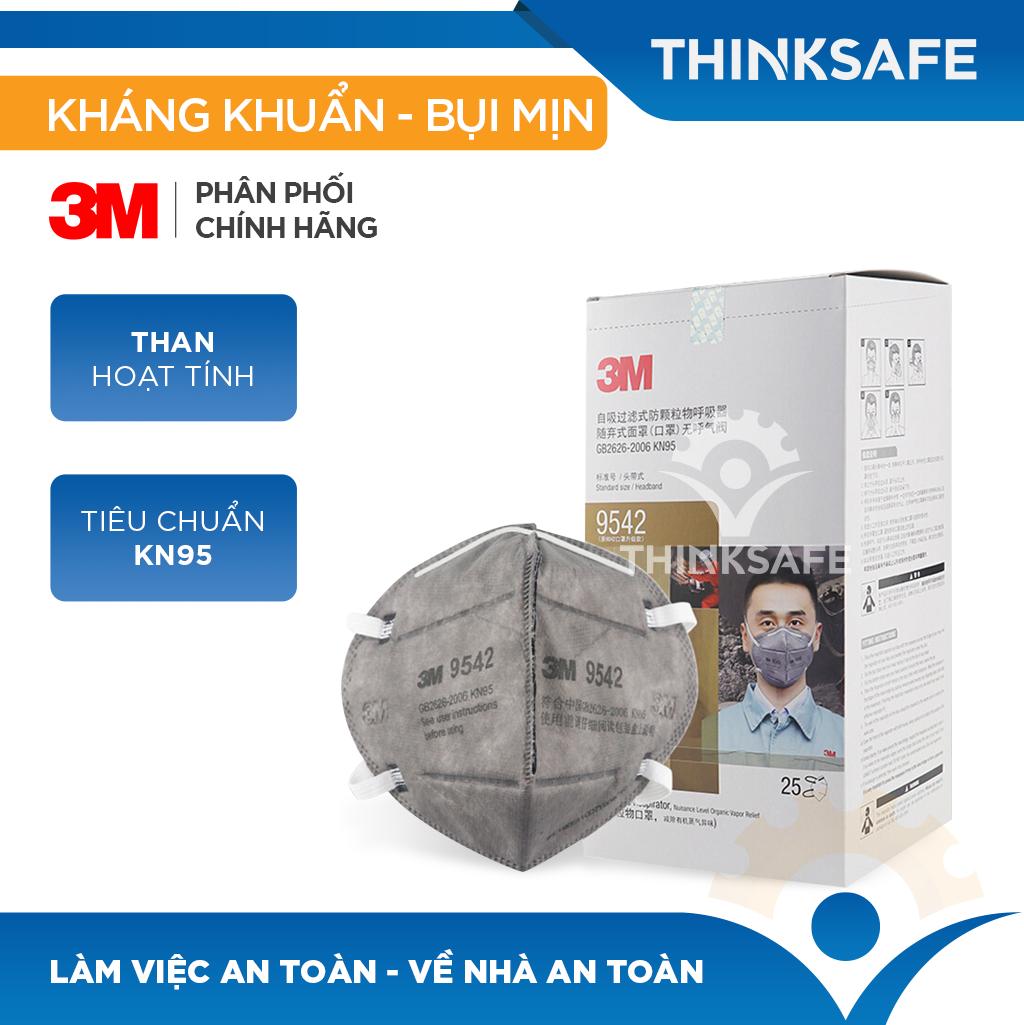 Khẩu trang 3M N95- Khẩu trang phòng dịch 3M 9542 đạt chuẩn KN95 chống bụi, chống độc, Khẩu trang 3D mark chính hãng - Thinksafe (Dây đeo qua gáy)