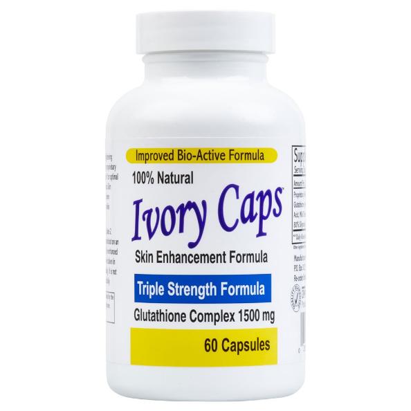 Viên uống Ivory Caps Glutathione Skin Enhancement Formula 60 viên hỗ trợ trắng da giảm nám, tàn nhang Triple Strength Formula Glutathione Complex 1500 mg 1
