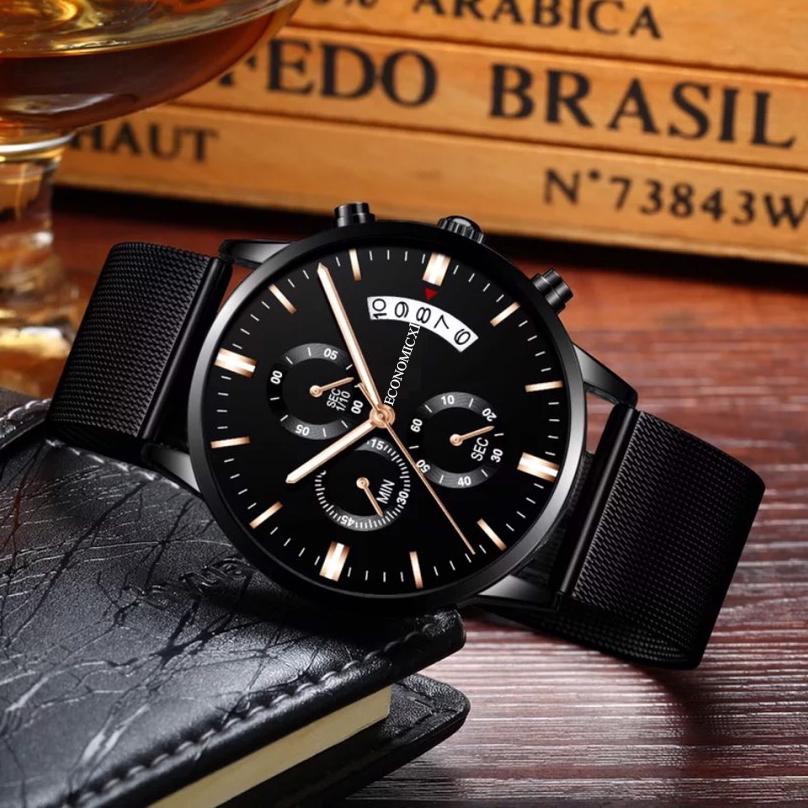 Đồng hồ nam ECONOMICXI dây thép lụa đen chạy lịch ngày cao cấp DZ10 (có kèm hộp) thumbnail