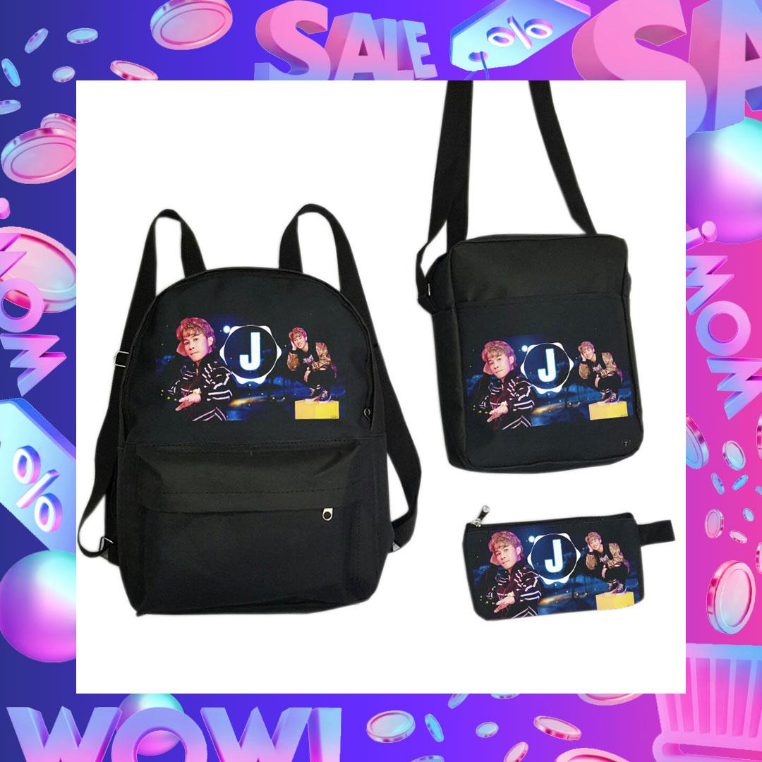 Hình ảnh Set balo 3 món gồm balo Jack 97 bóp viết J97 túi đeo chéo mini J97 tặng kèm móc khóa J97 đom đóm fan