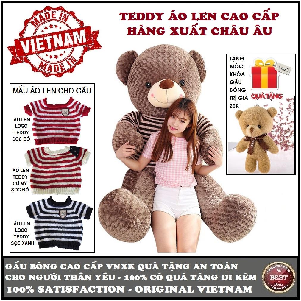 Hình ảnh Gấu bông Teddy mặc áo len size 1,6m khổ vải (gấu cao 1,4m) cao cấp màu nâu xám khói xuất châu âu, quà tặng an toàn cho trẻ và người thân