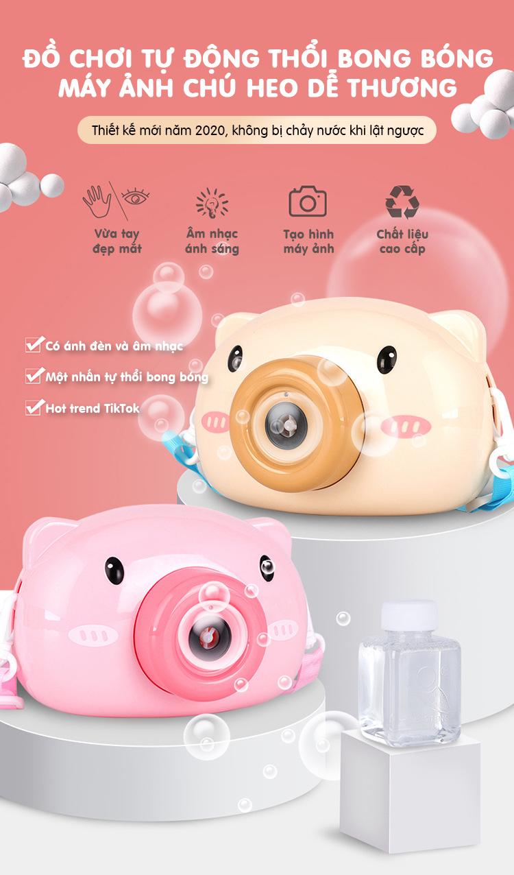 Đồ chơi tự động thổi bong bóng tạo hình máy chụp ảnh chú heo dễ thương, có âm nhạc và ánh sáng, kết hợp với bong bóng rất đẹp mắt thumbnail