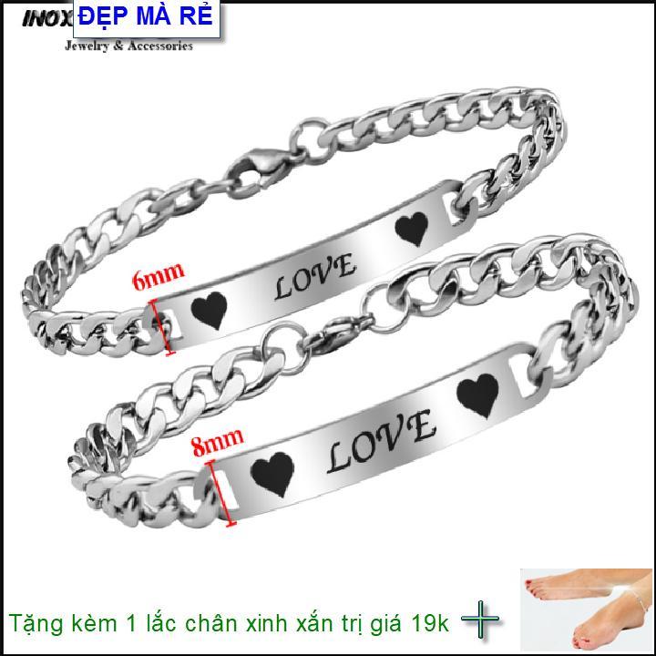 ( Tặng 01 lắc chân ) Lắc tay cặp đôi inox Đẹp Mà Rẻ khắc chữ LOVE ( 2 Lắc Nam Nữ như hình ) - VTLT00021T035099