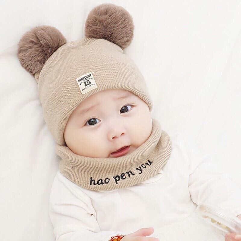 Hình ảnh Combo Bộ mũ len và khăn ống quàng cổ cho bé yêu kiểu dáng Hàn Quốc