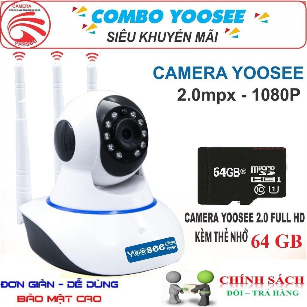 (Tặng kèm thẻ nhớ chuẩn 64gb BH 24 tháng dùng thử miễn phí 14 ngày)Camera Ip YooSee 3 Râu Full HD 2.0Mpx 1080p Tiếng Việt NEW 2019 - Hỗ trợ xem đêm, đàm thoại 2 chiều, lưu trữ video