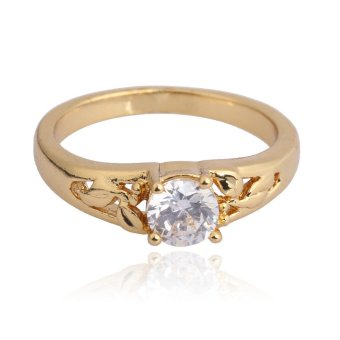 18K Gold Plating Gemstone Inlaid Wedding Ring Engagement FingerRing 16MM(Intl)