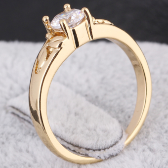 18K Gold Plating Zircon Inlaid Ring 17MM - 5
