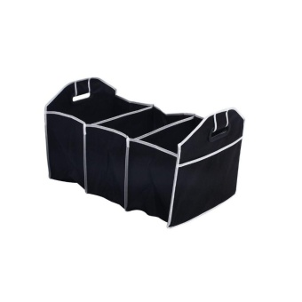 3 Compartments Large Space Foldable Car Boot Storage Organiser TidyShopping Box - intl