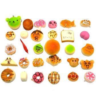 ... 30 Pcs Fashion Kawaii Mini Squishy Soft Simulated Food Panda BreadCake Buns Pendants Key Rings Keychains
