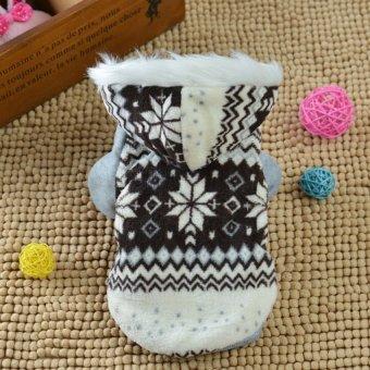 Allwin Dogs Cozy Snowflake Style Costume Two Feet Fashion PetsJacket Teddy Hoodie Coffee - intl