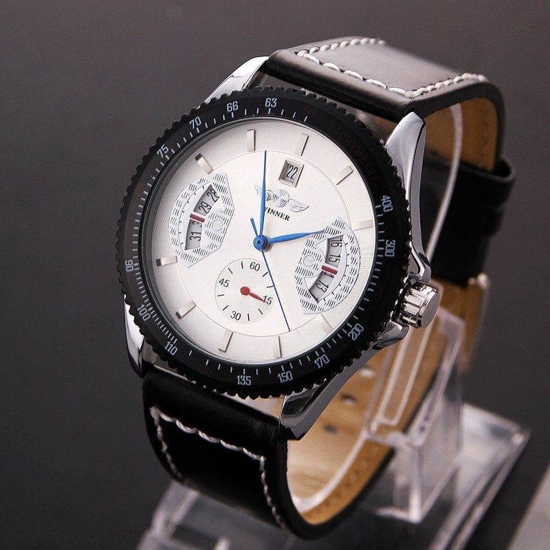 Amart Men Sports Leather Automatic Mechanical Analog Wrist Watch White - intl