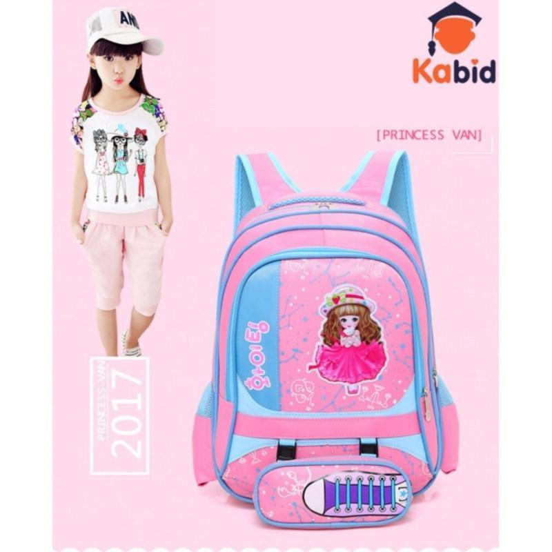 Giá bán Balo trẻ em họa tiết công chúa chống gù lưng cao cấp kèm hộp bút xinh xắn( Pink)