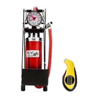 Bộ 1 bơm hơi đạp chân đơn + Đồng hồ đo áp suất lốp xe điện tử