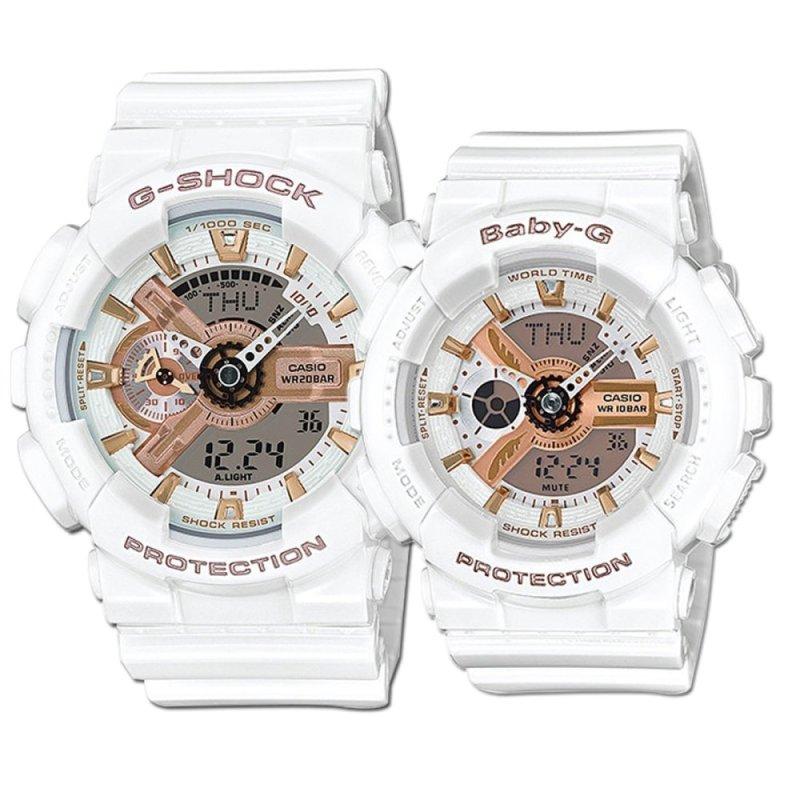 Nơi bán Bộ 2 đồng hồ dây nhựa Casio Baby-G và G-shock LOV-15A-7AJR (Trắng)