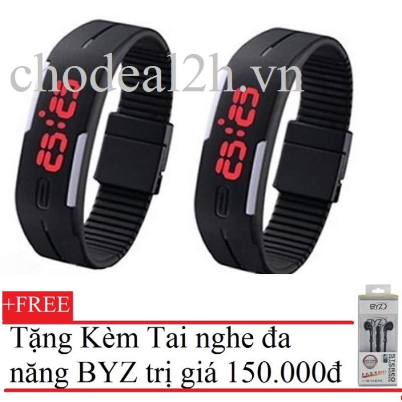 Bộ 2 Đồng hồ dây nhựa đèn led thể thao Chodeal24hvn (Đen) +Tặng Tai nghe BYZ S389 (Đen) bán chạy