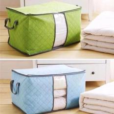 Bộ 2 túi vải đựng chăn màn quần áo ( xanh lá+ xanh dương)