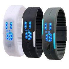 Bộ 3 Đồng hồ thể thao LED silicone (Đen,xám,trắng)