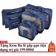 Bộ 6 túi du lịch chống thấm Bags in Bag (xanh dương đậm) + Tặng kèm balo du lịch gấp gọn