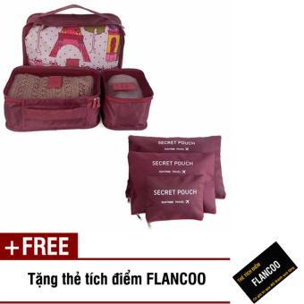 Bộ 6 túi đựng đồ đi du lịch Flancoo 3706 (Nâu) + Tặng kèm thẻ tích điểm Flancoo
