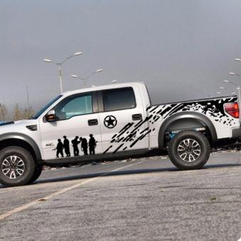 Bộ tem decal độ dán sườn toàn bộ xe bán tải (đen)