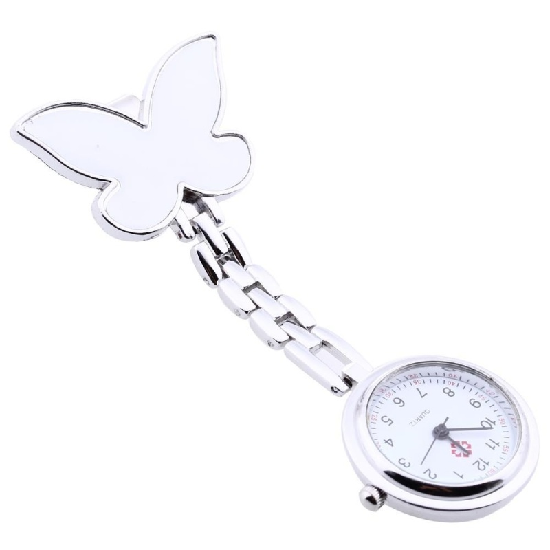 Bowknot Quartz Movement Clip Nurse Brooch Fob Tunic Pendant Watch White - intl bán chạy