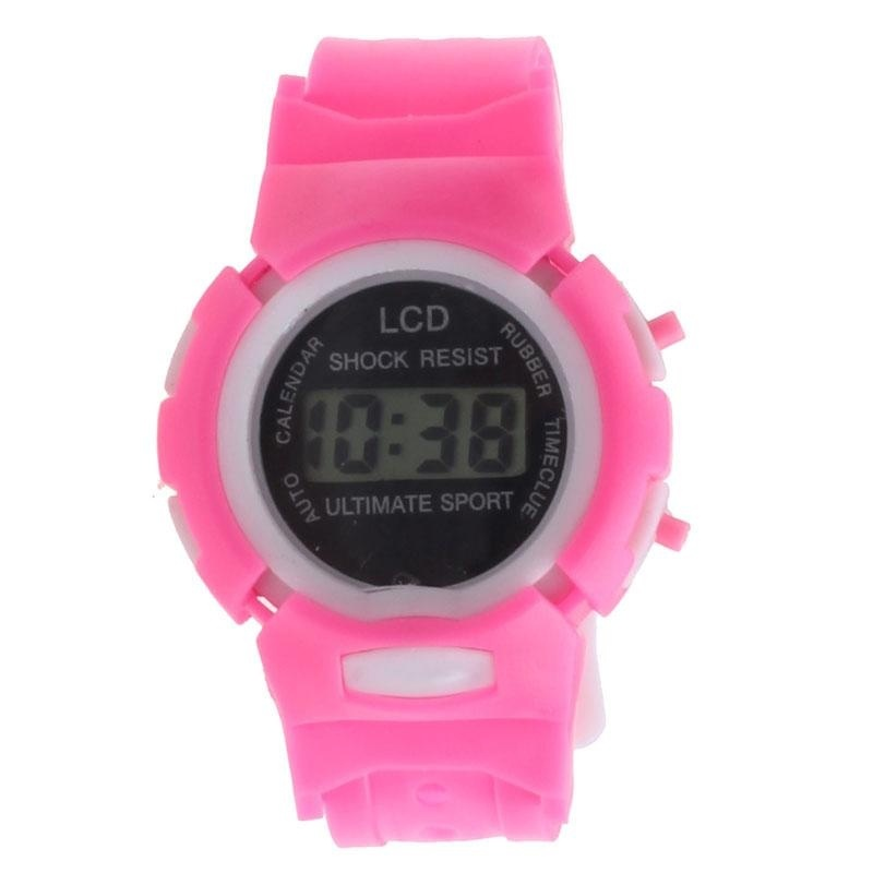 Boys Girls Students Time Electronic Digital LCD Wrist Sport Watch Pink - intl bán chạy