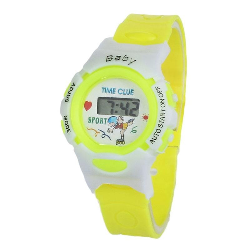 Boys Girls Students Time Electronic Digital Wrist Sport Watch Yellow - intl bán chạy