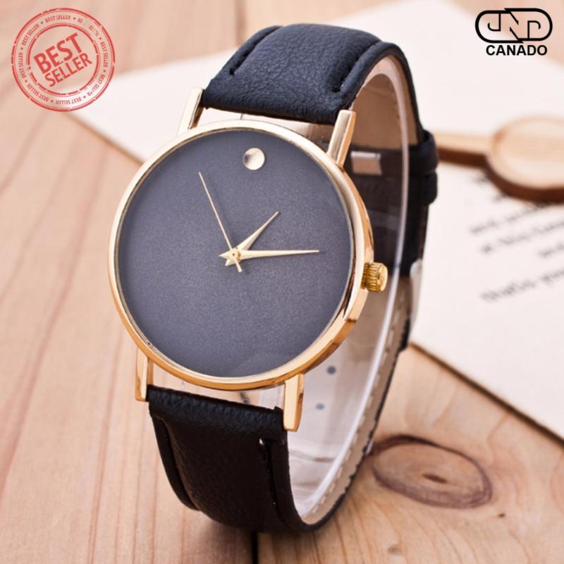 Nơi bán CANADO Đồng hồ nam dây da mềm sợi tổng hợp SD013 (Đen)