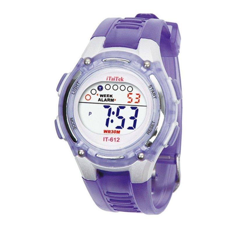 Children Boys Girls Swimming Sports Digital Waterproof Wrist Watch Purple bán chạy