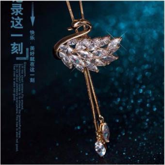 Dây chuyền nữ dài thiên nga vàng pha lê lấp lánh sang trọng-DC4