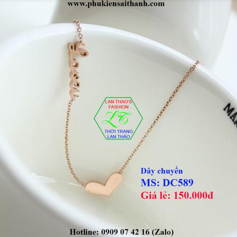 Dây chuyền Titan Trái tim cách điệu chữ Love cực xinh DC589 (VÀNG HỒNG)