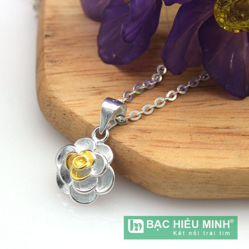 Dây chuyền và mặt dây chuyền BẠC HIỂU MINH dmd284 hoa hồng bạc ý