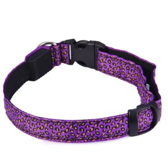 Dog Glow Flashing LED Collar Leopard Print Design PuppyNecklaceLuminous Pet Decors - intl