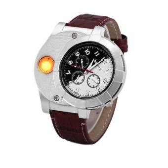 Đồng hồ bật lửa sạc USB 139 Fashion (Nâu)