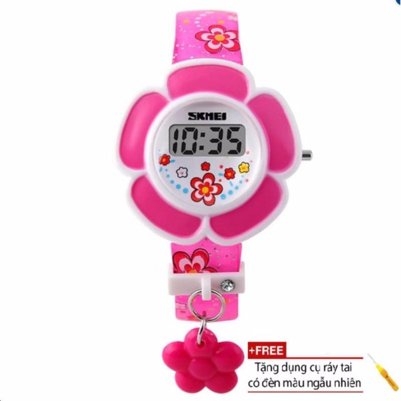 Đồng hồ bé gái dây nhựa Skmei 1144 (Hồng) + Tặng kèm dụng cụ soi tai có đèn trị giá 50 ngàn đồng bán chạy