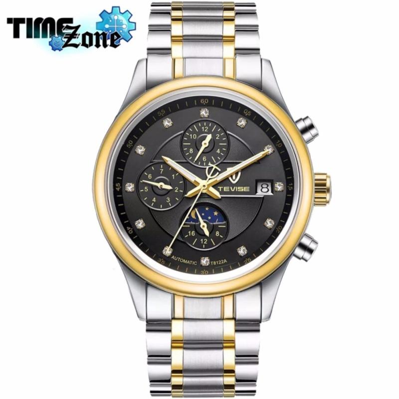Nơi bán Đồng hồ chạy cơ Automatic nam dây thép TimeZone thương hiệu TEVISE T8122A Golden Watch (Dây Demi, Mặt Đen)