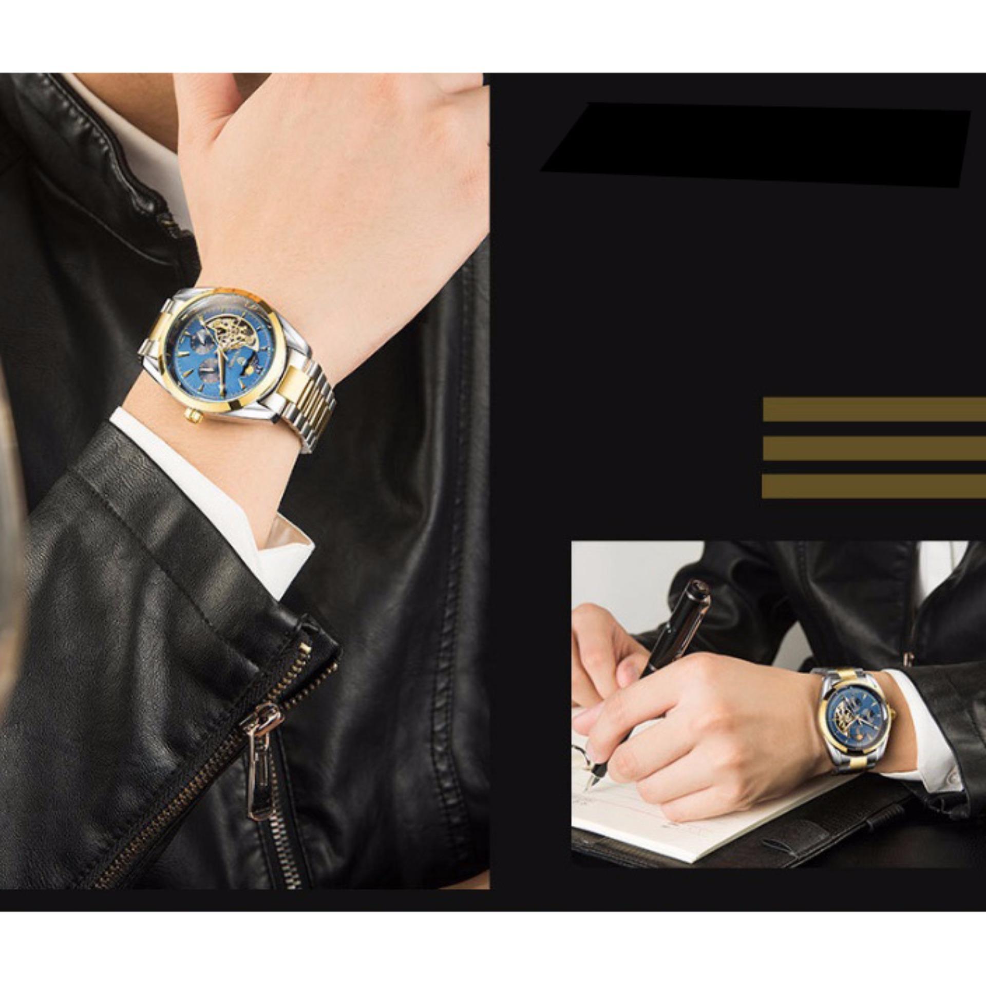 Đồng hồ cơ nam Tevise 795A chạy full kim (Xanh)