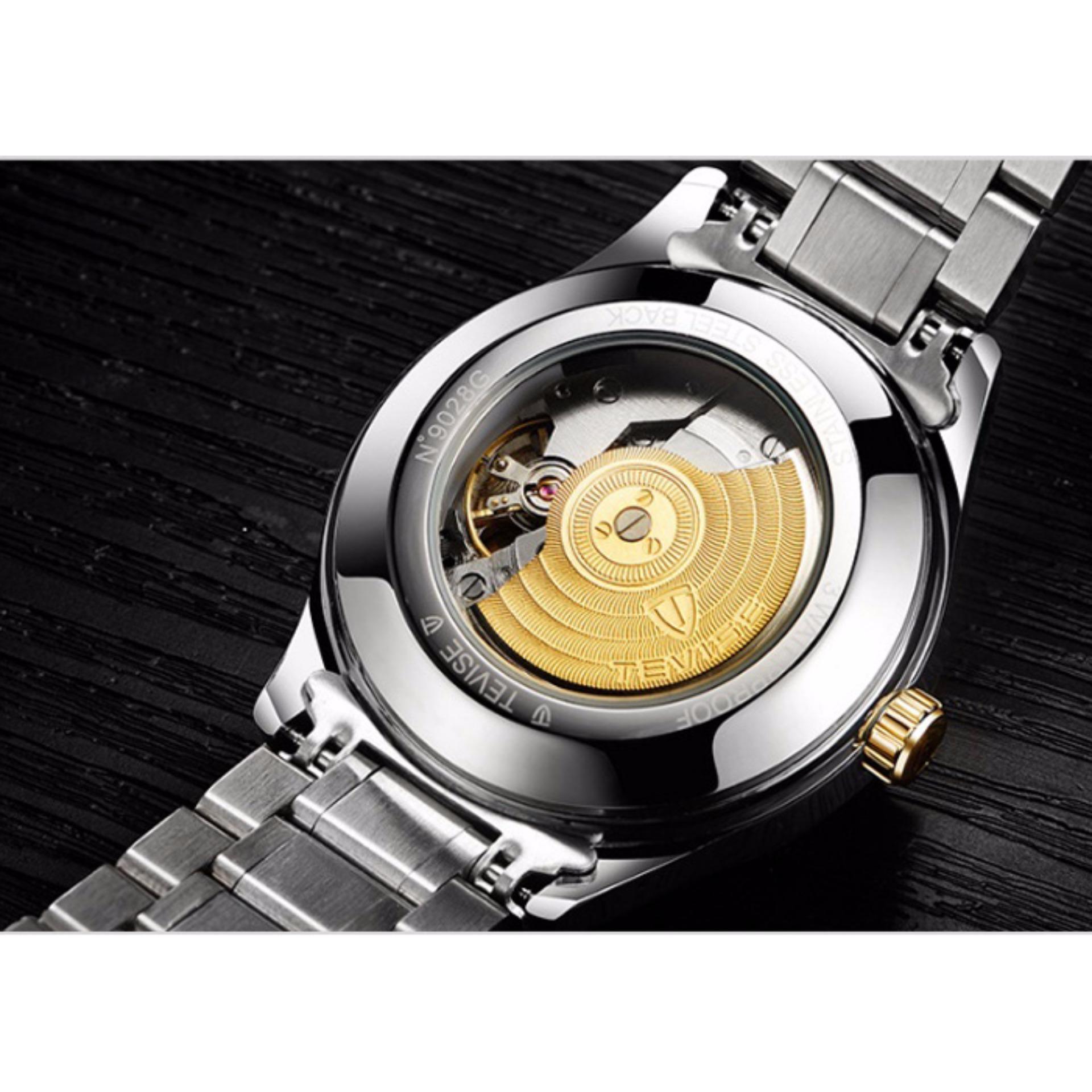 Đồng hồ cơ nam Tevise đính đá máy tự động (M Xanh)