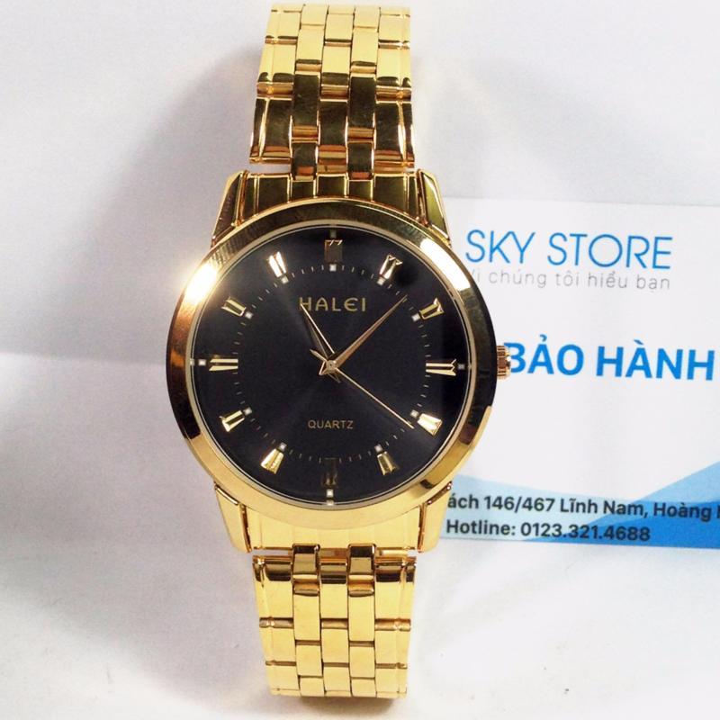 Nơi bán Đồng hồ dây thép không gỉ HALEI HA1395A ( Mặt đen dây vàng )