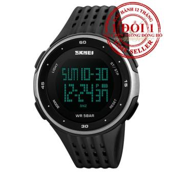 Đồng hồ điện tử dây silicone SKMEI DG1219 (Đen bạc)