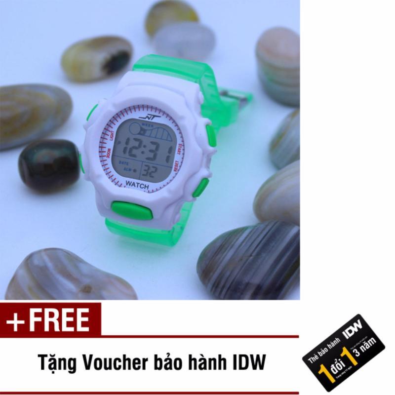 Đồng hồ điện tử trẻ em IDW S0824 (Xanh lá trong) + Tặng kèm voucher bảo hành IDW bán chạy