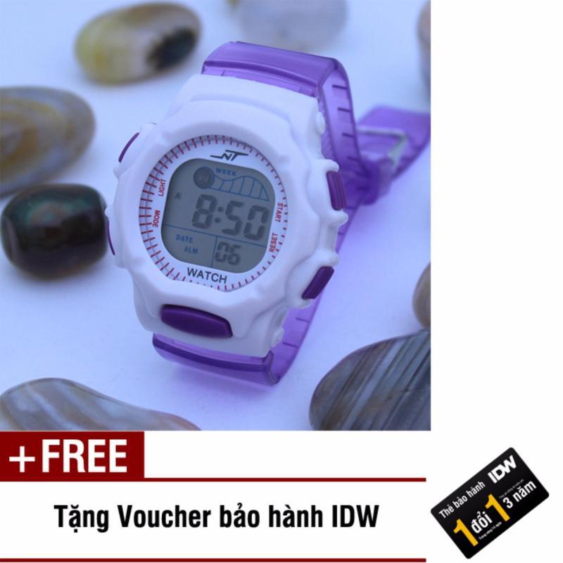 Đồng hồ điện tử trẻ em IDW S0827 (Tím trong) + Tặng kèm voucher bảo hành IDW bán chạy