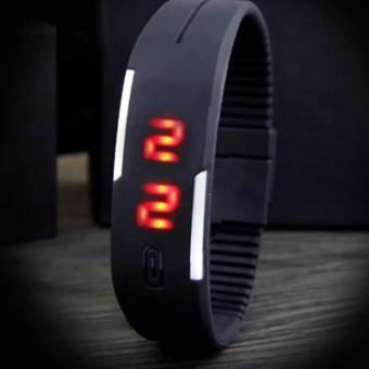 Đồng hồ LED dây nhựa kiêm vòng tay thời trang (Đen)