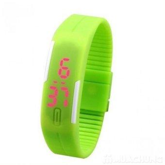Đồng hồ LED dây silicon kiêm vòng tay (Xanh lá)