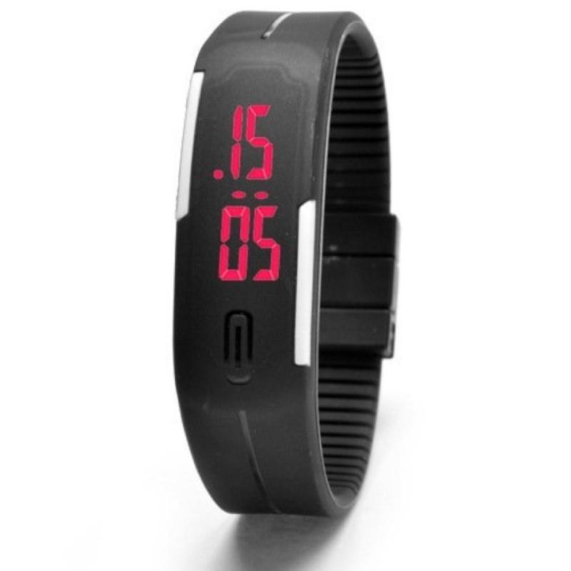 Nơi bán Đồng hồ led silicon kèm vòng tay thông minh (đen)