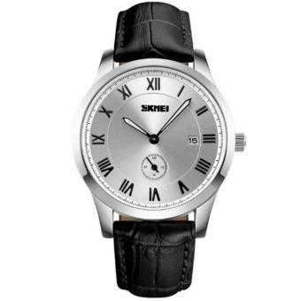Đồng hồ nam chống nước skmei 1132 dây đen mặt trắng