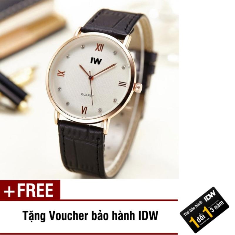 Nơi bán Đồng hồ nam dây da cao cấp IW IDW S0121 (Dây đen) + Tặng kèm voucher bảo hành IDW